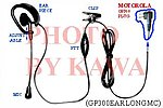 5x GP300EARLONGMC Headset Mic for Motorola GP300 P1225 CP200 HT1250 XTN