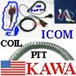 1X ICERCOILYECON Econ Coil PTT Ear Mic for Icom radio