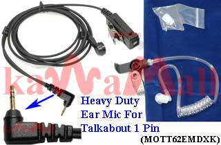 100X MOTT62EMDXK Heavy Duty Headset Mic for Motorola Talkabout 1 Pin Radio