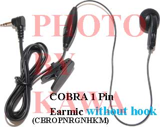 1x CBROPNRGNHKM 1 Pin Earbud NoHook Cobra Microtalk GMRS FRS Radios