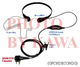 1x GPCHDECONDG ECON Surveillance VOX Throat Mic for Motorola GP300 XTN