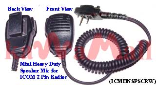 1X ICMHNSPSCRW Heavy Duty Mini Speaker Mic for ICOM IC-F3 F4 2 Pin with Screws