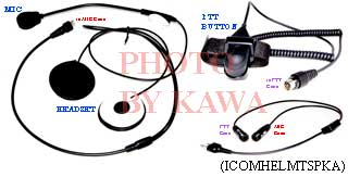 1x ICOMHELMTSPKA Full-face Helmet Headset for Icom Y-plug