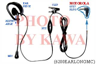 1x 6200EARLONGMC Headset Ear Mic PTT for Motorola FRS SX710 T7200