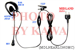 1x MDLNEARLONGMC Headset Ear Mic PTT for Midland LXT GXT GMRS Radio