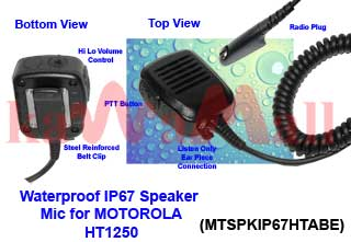 1X MTSPKIP67HTABE WaterProof Speaker Mic for Motorola HT750 HT1250 PRO-9150
